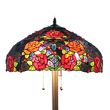 FL200098 20 inch Three lights roses Tiffany floor lamp stained glass floor lamp from China