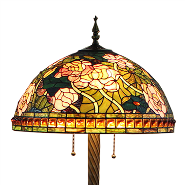 FL200091 20 inch Three lights rose Tiffany floor lamp stained glass floor lamp from China