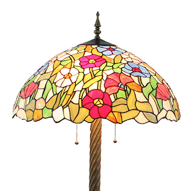 FL200082 20 inch Two lights Zinc alloy base Rose shade Tiffany floor lamp stained glass floor lamp f