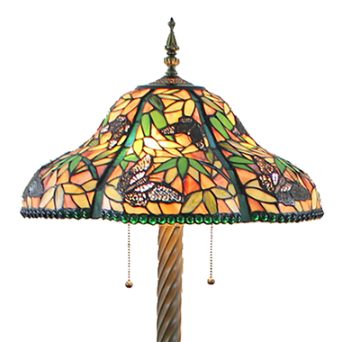 FL20078 20 inch Two lights Resin base Tiffany floor lamp stained glass floor lamp from China