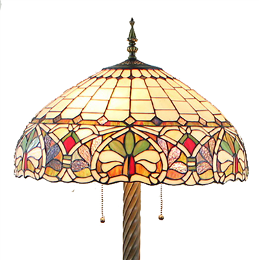 FL20077 20 inch Two lights Resin base Tiffany floor lamp stained glass floor lamp from China