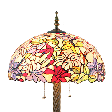 FL20076 20 inch Two lights Resin base Tiffany floor lamp stained glass floor lamp from China
