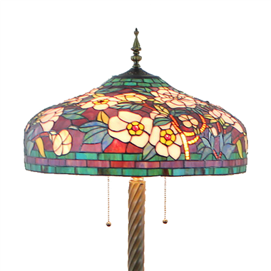FL200074 20 inch Two lights Zinc alloy base Tiffany floor lamp stained glass floor lamp from China