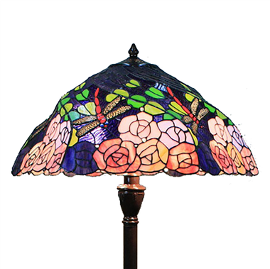 FL200073 20 inch Two lights Zinc alloy base  dragonfly and rose rotate shade Tiffany floor lamp stai