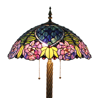 FL200072 20 inch Two lights Zinc alloy base Tiffany floor lamp stained glass floor lamp from China