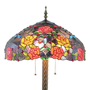 FL200071 20 inch Two lights Zinc alloy base rose flower Tiffany floor lamp stained glass floor lamp