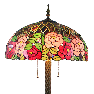 FL200069 20 inch two lights rose flower Tiffany floor lamp stained glass floor lamp from China