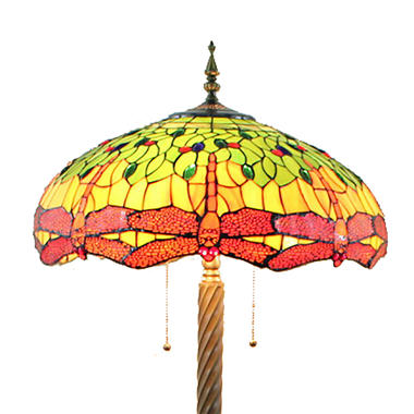 FL200068 20 inch Two lights Zinc alloy base dragonfly Tiffany floor lamp stained glass floor lamp fr