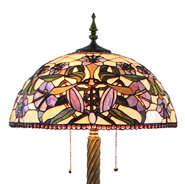 FL200053 20 inch Two lights Zinc alloy base Tiffany floor lamp stained glass floor lamp from China