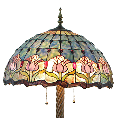 FL200047 20 inch Two lights Tulip Tiffany Style Stained Glass Floor Lamp