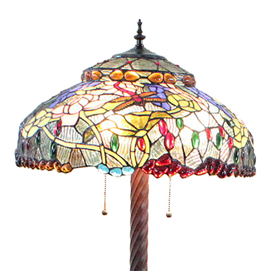 FL200044 20 inch Two lights Zinc alloy base Tiffany floor lamp stained glass floor lamp from China