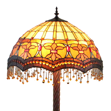FL200042 20 inch Tiffany Style Stained Glass Floor Lamp with beads