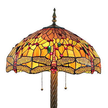 FL200039 20 inch Two lights Zinc alloy base  dragonfly Tiffany floor lamp stained glass floor lamp f