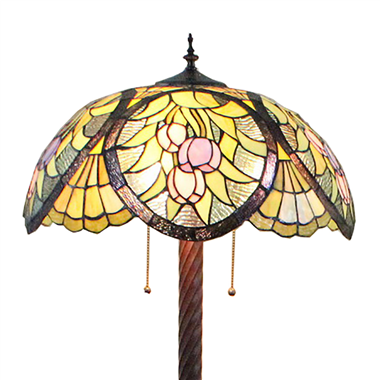 FL200024 20 inch Two lights Zinc alloy base Tiffany floor lamp stained glass floor lamp from China