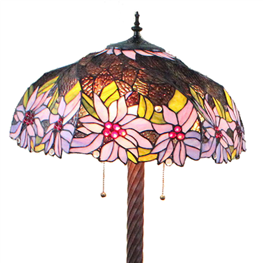 FL200021 20 inch Two lights Zinc alloy base Tiffany floor lamp stained glass floor lamp from China