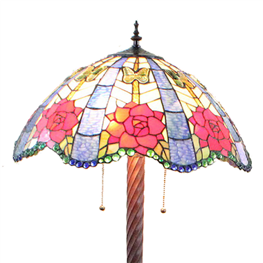 FL200019 20 inch Two lights Zinc alloy base Tiffany floor lamp stained glass floor lamp from China