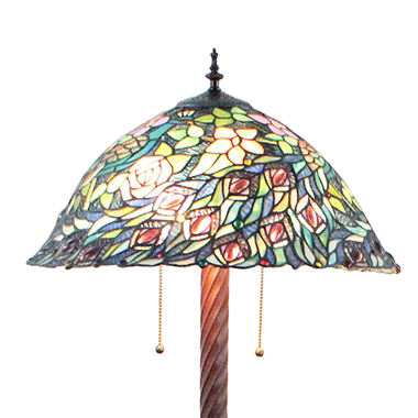 FL200016 20 inch Two lights Zinc alloy base Tiffany floor lamp stained glass floor lamp from China
