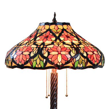 FL200011 20 inch Two lights Zinc alloy base Tiffany floor lamp stained glass floor lamp from China