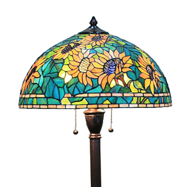 FL180016 18 inch Two lights resin base Sunflower Tiffany floor lamp stained glass floor lamp from Ch
