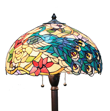 FL180015 18 inch Two lights resin base flower Tiffany floor lamp stained glass floor lamp from Ch