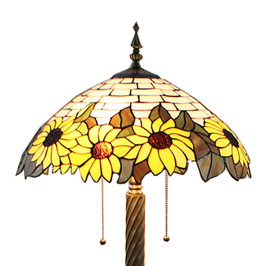 FL180012 18 inch Two lights resin base sunflower Tiffany floor lamp stained glass floor lamp from Ch
