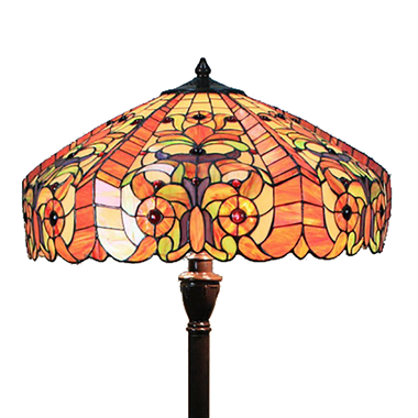 FL180008 18 inch Two lights resin base  Tiffany floor lamp stained glass floor lamp from China18