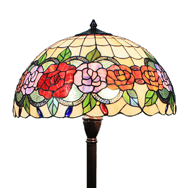 FL180007 18 inch Two lights resin base  Tiffany floor lamp stained glass floor lamp from China18
