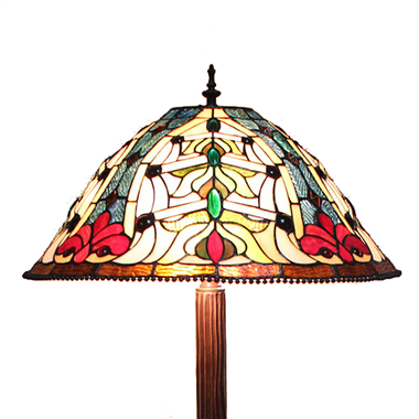 FL180004 18 inch Two lights resin base  Tiffany floor lamp stained glass floor lamp from China18