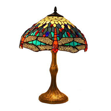 TL140001 14 inch Zinc alloy base dragonfly tiffany table lights tiffany table lamp from Jiufa