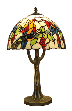 TL120034 12 inch Tiffany style jeweled peacock base stained glass accent lamp