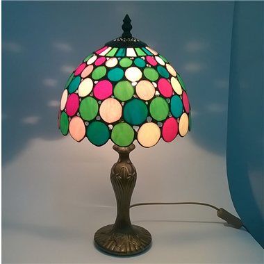 TL090001 9 inch resin base colorful tiffany table lamp from China Jiufa