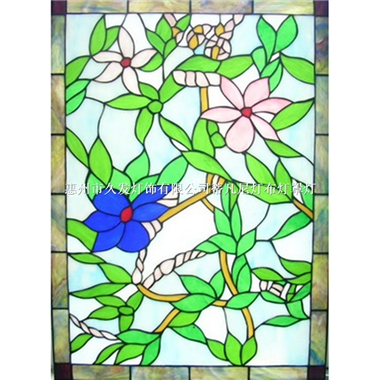 GP0031 square stained glass panels and window hangings tiffany suncatcher flower pattern