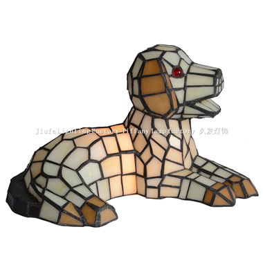 TLC00080-Dog tiffany figure accent table lamp