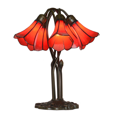 5 Lighting Red Tiffany Lily lampshade Stained Glass table lamp for wedding or gifts