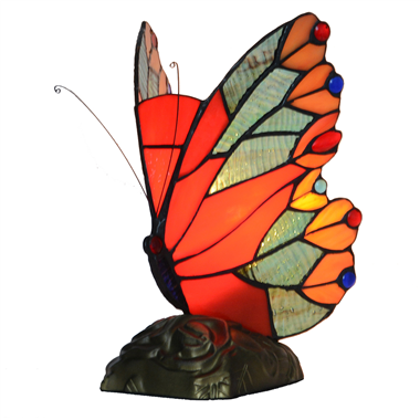 Tiffany Style Stained Glass Red Butterfly Accent Lamp