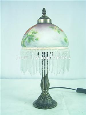 TRH080002-Victorian Fringed glass globe Accent Lamp