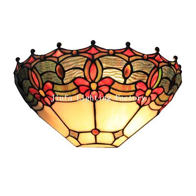 WL120006-jeweled tiffany floral wall lamp stained glass wall sconce