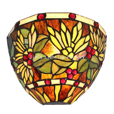 WL120012-stained glass wall sconce art deco
