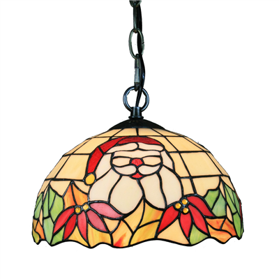 PL100015 10 inch Tiffany Style Santa Claus 1-light Pendant Lamp with chain gifts hanging lamp