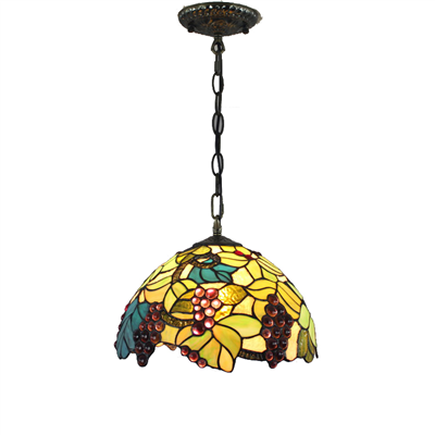 PL120018 12 inch Grape Tiffany Style Pendant Lamp stained glass hanging lighting