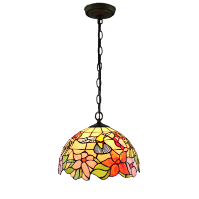 PL120020 12 inch Hummingbird and flowers Tiffany Style Pendant Lamp stained glass hanging lighting