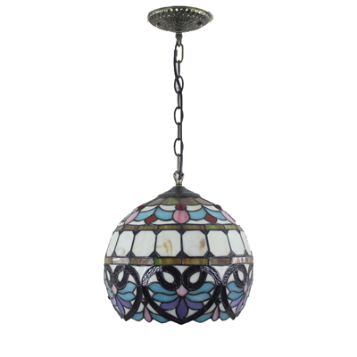 PL120022 12 inch Spherical Ball Tiffany Style Pendant Lamp stained glass hanging lighting