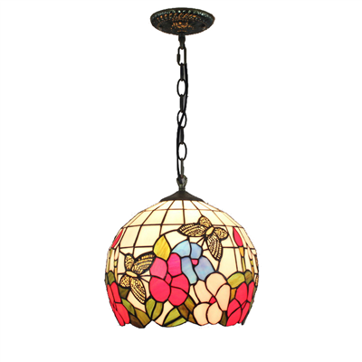 PL120023 12 inch butterfly with flower Spherical Tiffany Style Pendant Lamp stained glass hanging