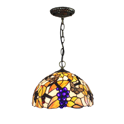 PL120025 12 inch Grape Tiffany Style Pendant Lamp stained glass hanging lighting