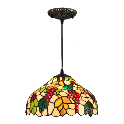 PL120024 12 inch Grape Tiffany Style Pendant Lamp stained glass hanging lighting