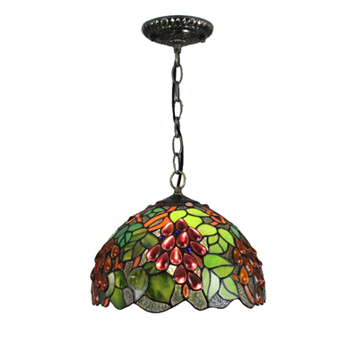 PL120030 12 inch Grape Tiffany Style Pendant Lamp stained glass hanging lighting