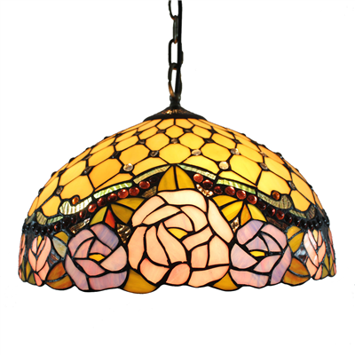 PL160003 16 inch Rose Tiffany Style Pendant Lamp stained glass hanging lighting