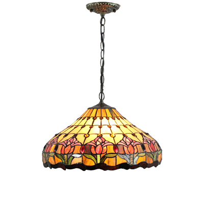 PL160011 16 inch Tulips Tiffany Style Pendant Lamp stained glass hanging light