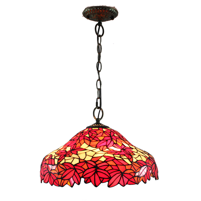 PL160015 Maple leaves Tiffany Style Pendant Lamp stained glass hanging lighting