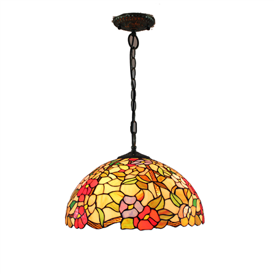 PL160018 16 inch flower Tiffany Style Pendant Lamp stained glass hanging lighting